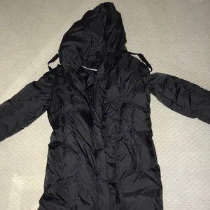 tahari size medium black long jacket puffer hood